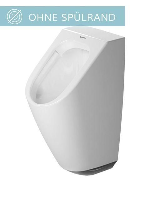 Duravit ME by Starck Urinal rimless ohne Spülrand ohne Deckel Zulauf von hinten weiß mit HygieneGlaze 2809312093