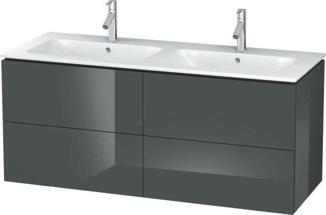 Duravit L-Cube Waschtischunterschrank wandhängend B:129xH:55xT:48,1 cm mit 4 Schubkästen dolomiti grey hochglanz LC625903838