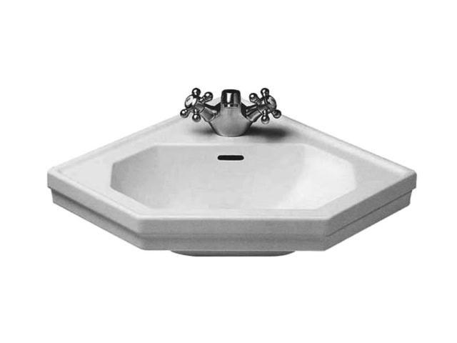 Duravit 1930 Handwaschbecken B:59,5xT:45cm 1 Hahnloch mittig mit Überlauf weiß mit Wondergliss 07934200001
