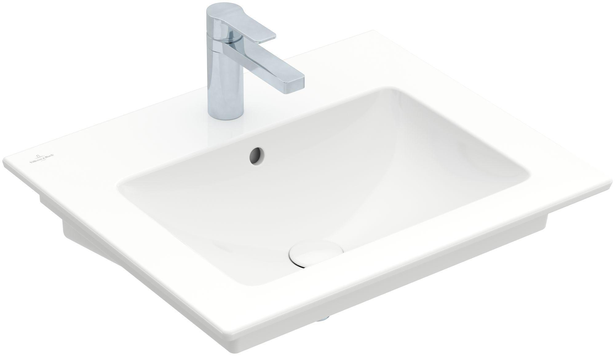 Villeroy & Boch Venticello Waschtisch B:60xT:50cm 1 Hahnloch mit Überlauf weiß mit Ceramicplus 4124G6R1