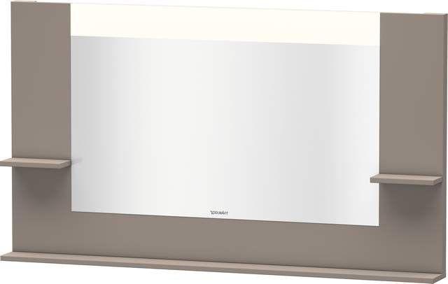 Duravit Vero Spiegel mit LED-Beleuchtung B:140xH:80xT:14,2cm mit Ablagen rechts links und unten basalt matt VE735304343