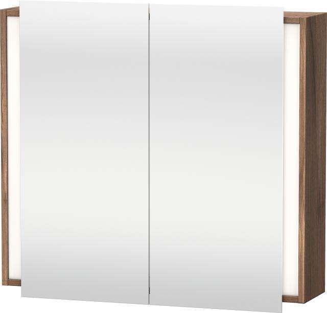 Duravit Ketho Spiegelschrank mit Beleuchtung B:80xH:75xT:18cm 2 Spiegeltüren nussbaum natur KT753107979