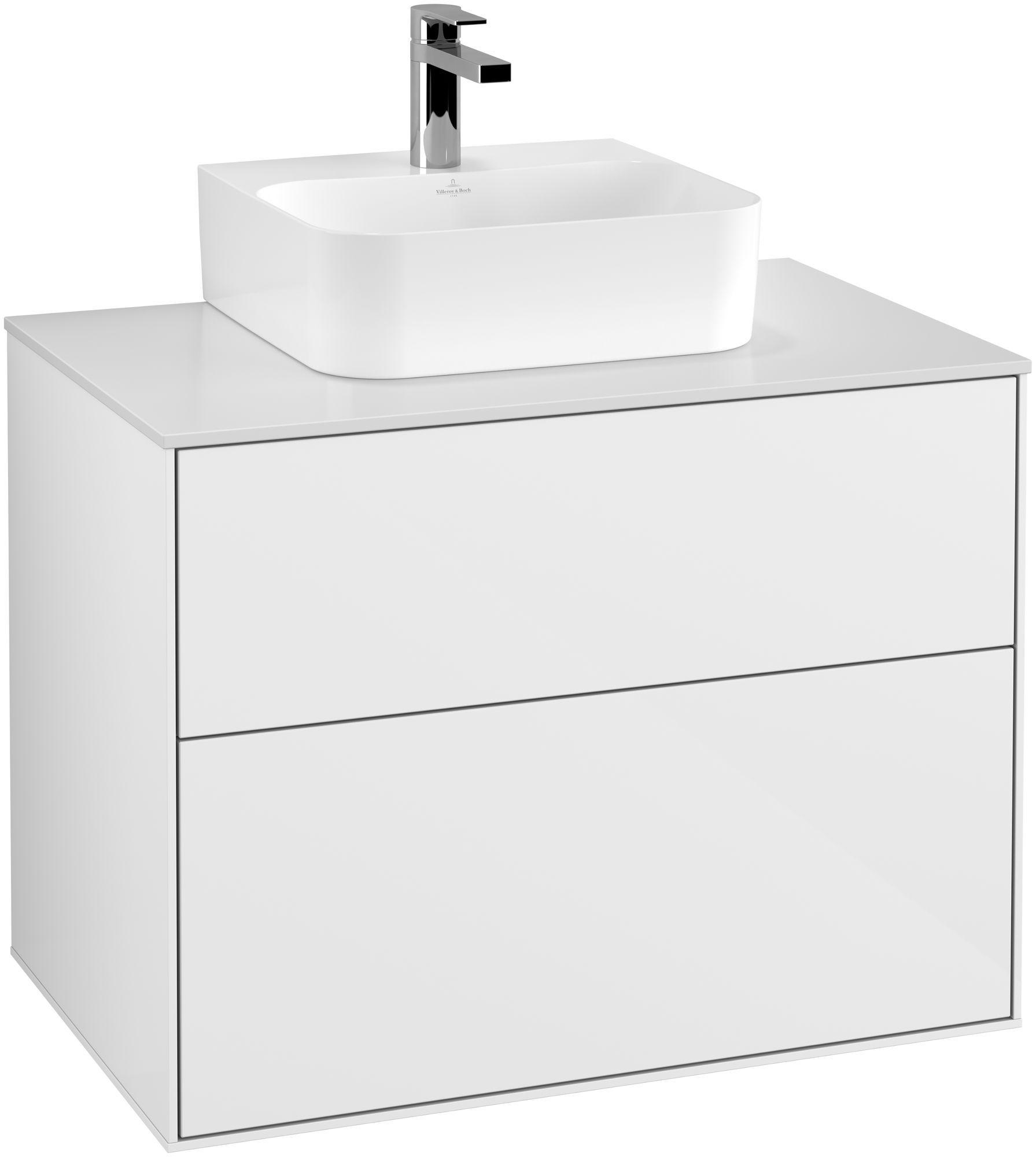 Villeroy & Boch Finion G08 Waschtischunterschrank 2 Auszüge Waschtisch mittig LED-Beleuchtung B:80xH:60,3xT:50,1cm Front, Korpus: Glossy White Lack, Glasplatte: White Matt G08100GF