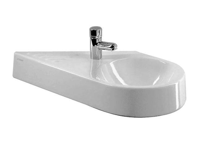 Duravit Architec Handwaschbecken B:64,5xT:41cm 1 Hahnloch links ohne Überlauf Becken rechts weiß 0765650000