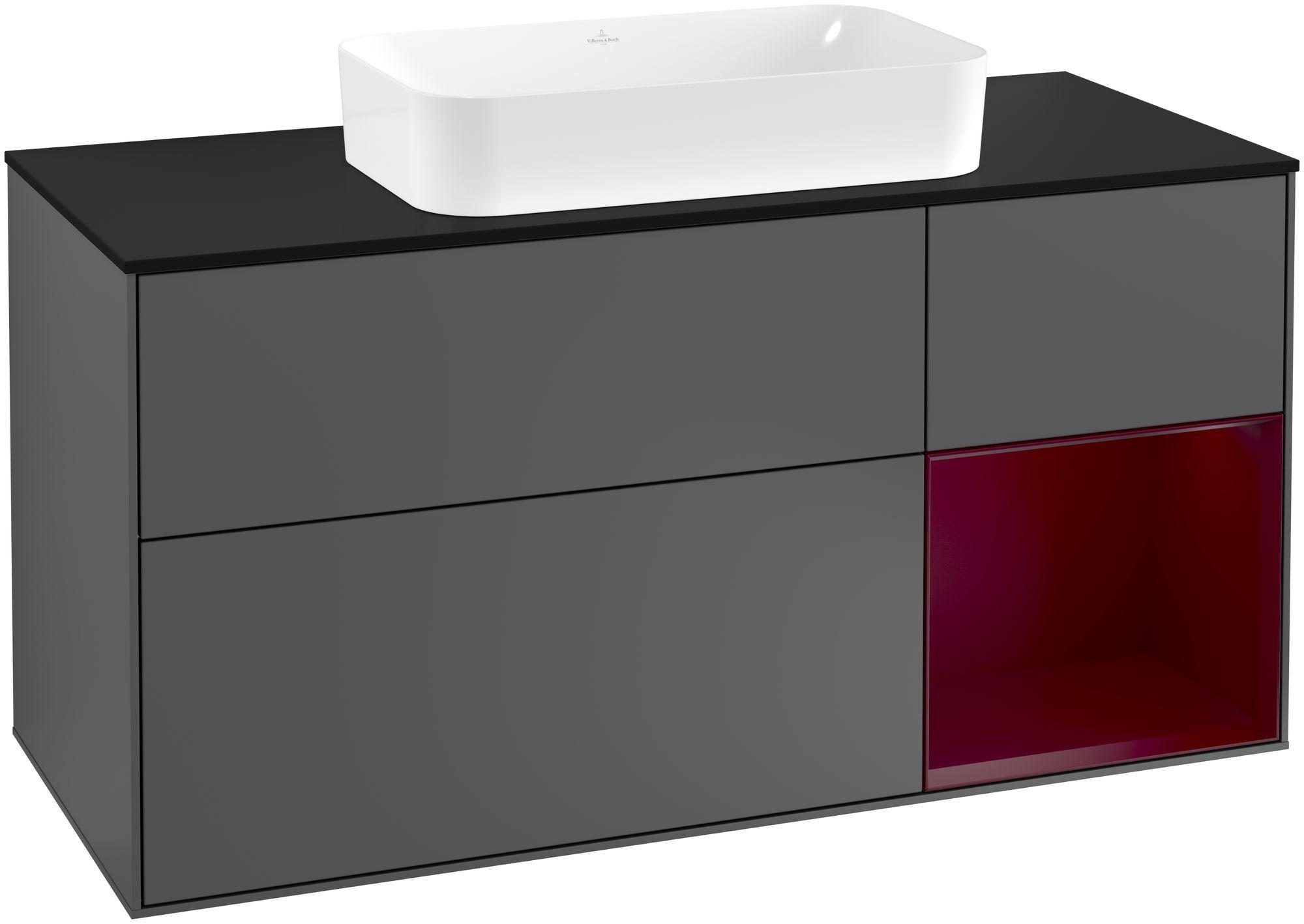 Villeroy & Boch Finion F30 Waschtischunterschrank mit Regalelement 3 Auszüge Waschtisch mittig LED-Beleuchtung B:120xH:60,3xT:50,1cm Front, Korpus: Anthracite Matt, Regal: Peony, Glasplatte: Black Matt F302HBGK