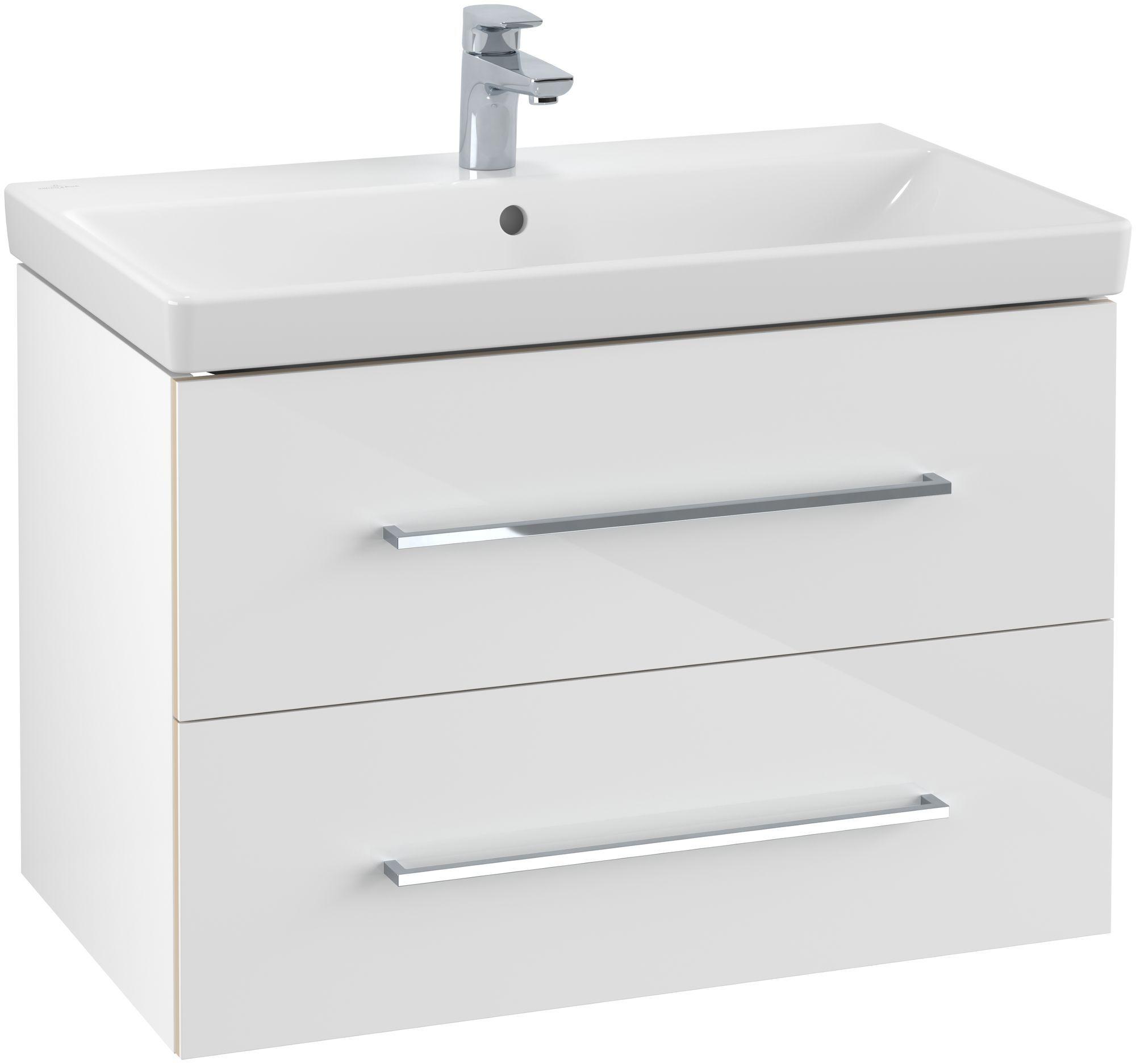 Villeroy & Boch Avento Waschtischunterschrank mit 2 Auszügen B:76 x H:52 x T:44,7 cm crystal white A89100B4