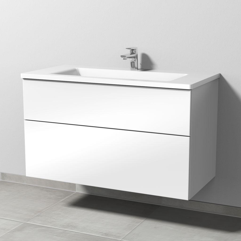 Sanipa 3way Set Mineralguss-Waschtisch (SM304) H:58,2xB:100xT:48,7cm Weiß-Soft SM30443