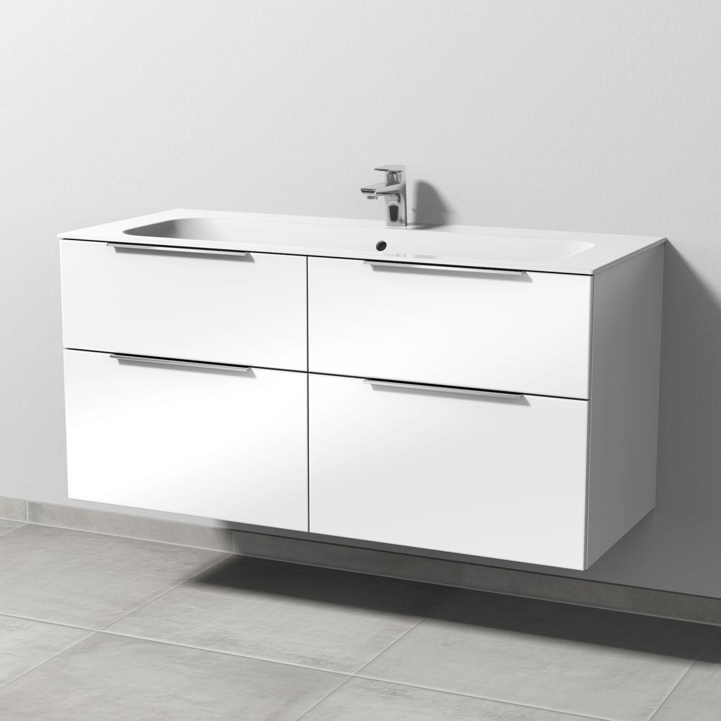 Sanipa 3way Waschtischunterbau mit Auszügen (UM402) H:58,2xB:119xT:49,7cm Weiß-Soft UM40243