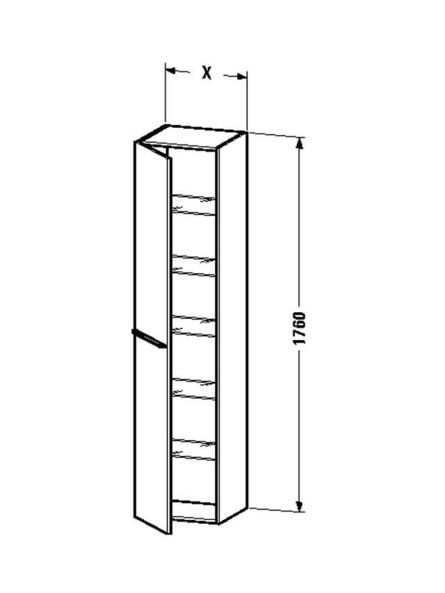 Duravit X-Large Hochschrank B:50xH:176xT:35,8cm 1 Tür Türanschlag rechts eiche gebürstet XL1137R1212