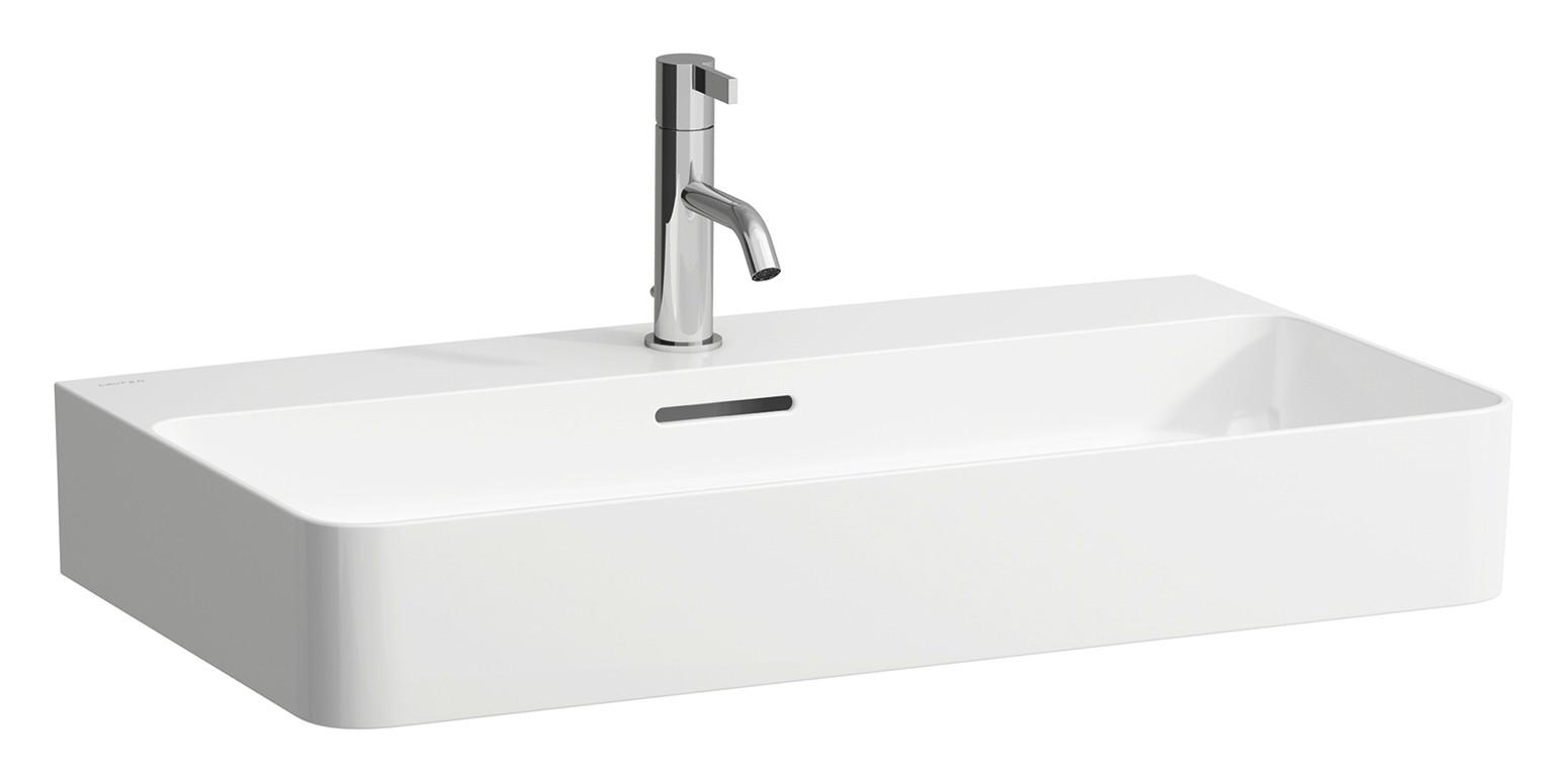 Laufen VAL Möbel-Waschtisch mit einem Hahnloch mit Überlauf B:75xT:42cm weiß mit CleanCoat LCC H8102854001041