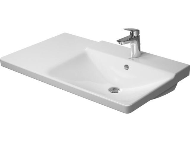 Duravit P3 Comforts Möbelwaschtisch B:85cm 3 Hahnlöcher mit Überlauf Becken rechts weiß mit Wondergliss 23348500301