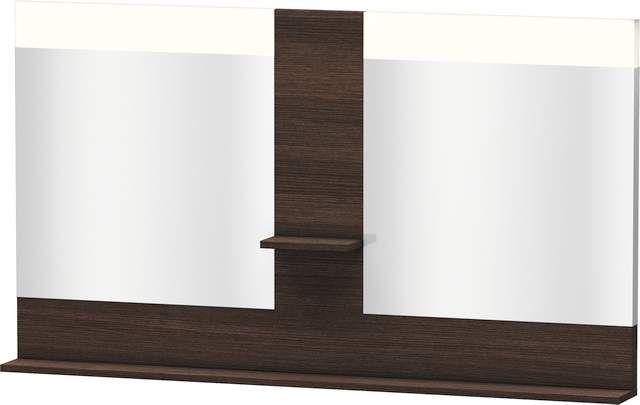 Duravit Vero Spiegel mit LED-Beleuchtung B:140xH:80xT:14,2cm mit Ablagen mittig und unten kastanie dunkel VE736105353