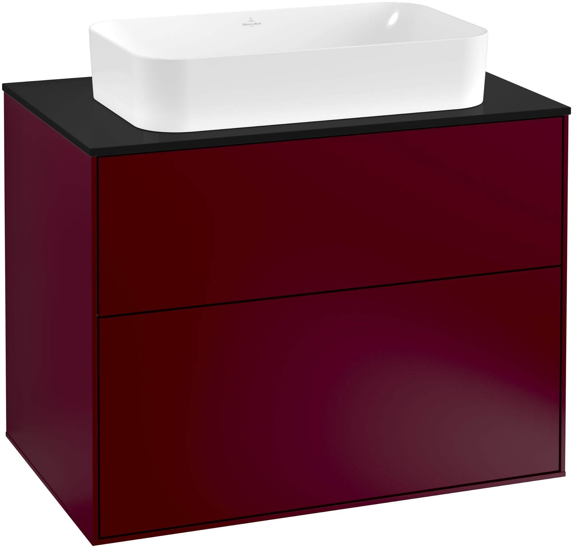 Villeroy & Boch Finion G22 Waschtischunterschrank 2 Auszüge Waschtisch mittig LED-Beleuchtung B:80xH:60,3xT:50,1cm Front, Korpus: Peony, Glasplatte: Black Matt G22200HB