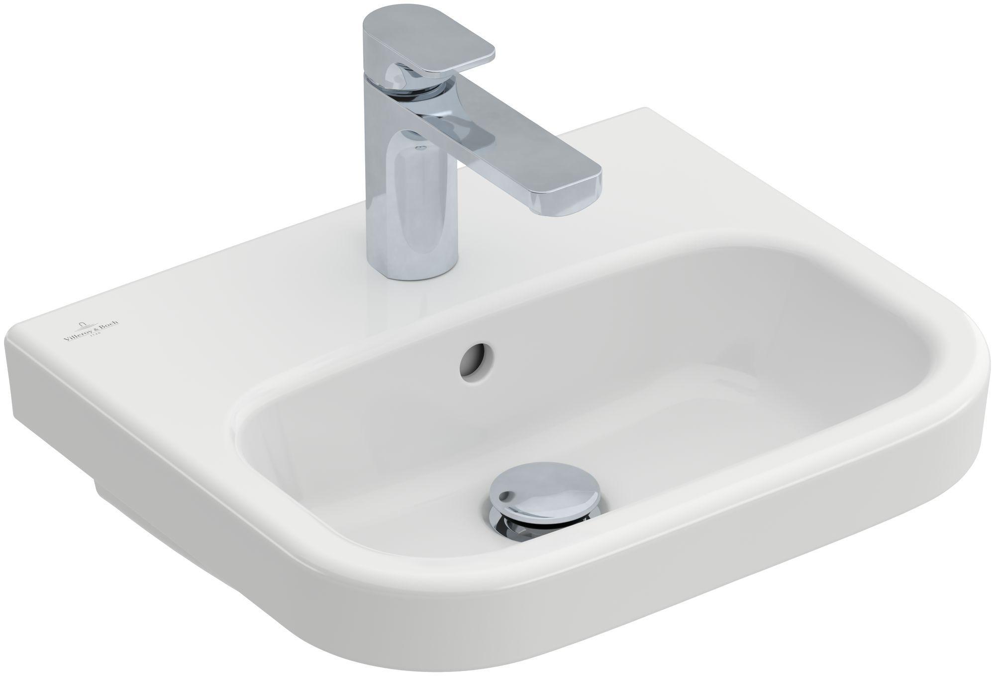 Villeroy & Boch Architectura Handwaschbecken B:45xT:38cm mit 1 Hahnloch mit Überlauf weiß mit CeramicPlus 437345R1