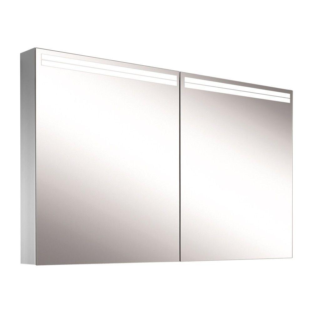 Schneider Spiegelschrank ARANGA Line 130/2/TW B:130xH:70xT:12cm mit Beleuchtung mit Accessoire-Box und Kosmetikspiegel eloxiert 160.530.02.50