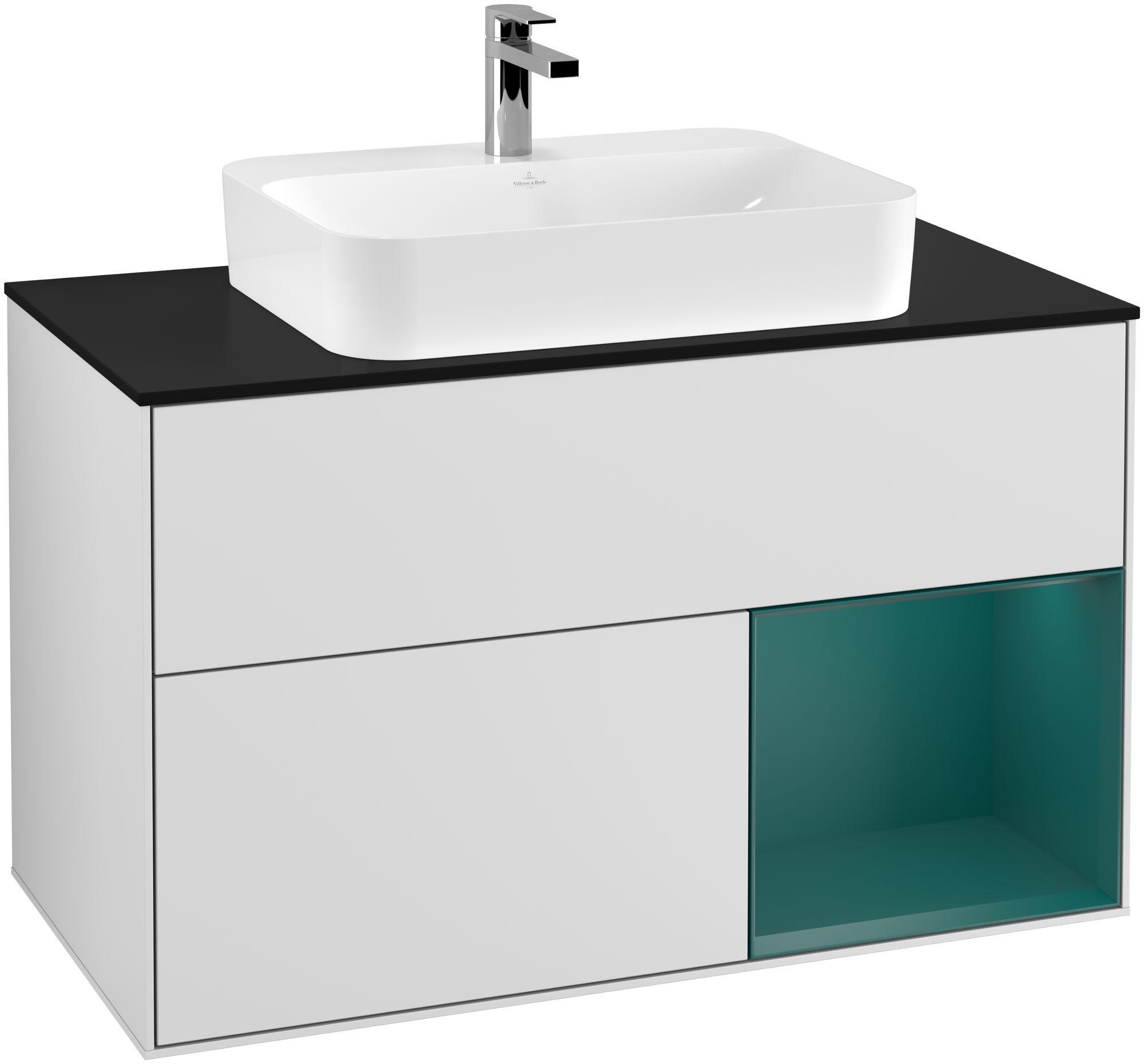 Villeroy & Boch Finion G37 Waschtischunterschrank mit Regalelement 2 Auszüge für WT mittig LED-Beleuchtung B:100xH:60,3xT:50,1cm Front, Korpus: Weiß Matt Soft Grey, Regal: Cedar, Glasplatte: Black Matt G372GSMT