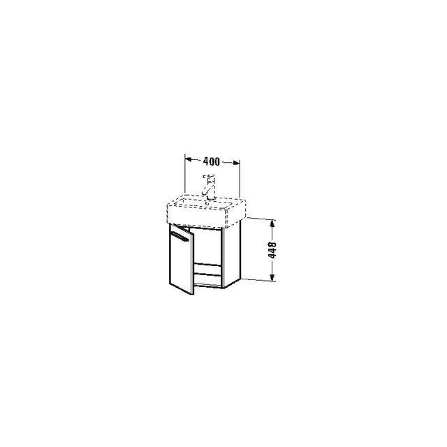 Duravit X-Large Waschtischunterschrank wandhängend B:40xH:44,2xT:32,8 cm mit 1 Tür Türanschlag links basalt matt XL6209L4343