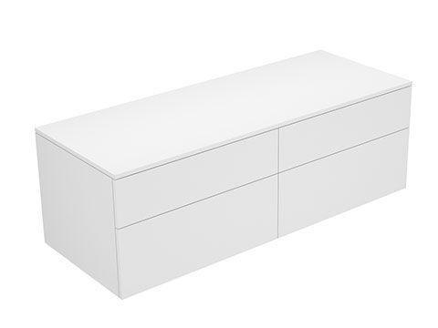 Keuco Edition 400 Sideboard wandhängend 4 Frontauszüge 1400 x 472 x 535 mm weiß hochglanz/Glas titan klar 31767960000