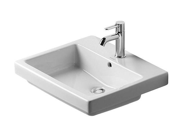Duravit Vero Einbauwaschtisch B:55xT:46cm 1 Hahnloch mittig mit Überlauf weiß 0315550000