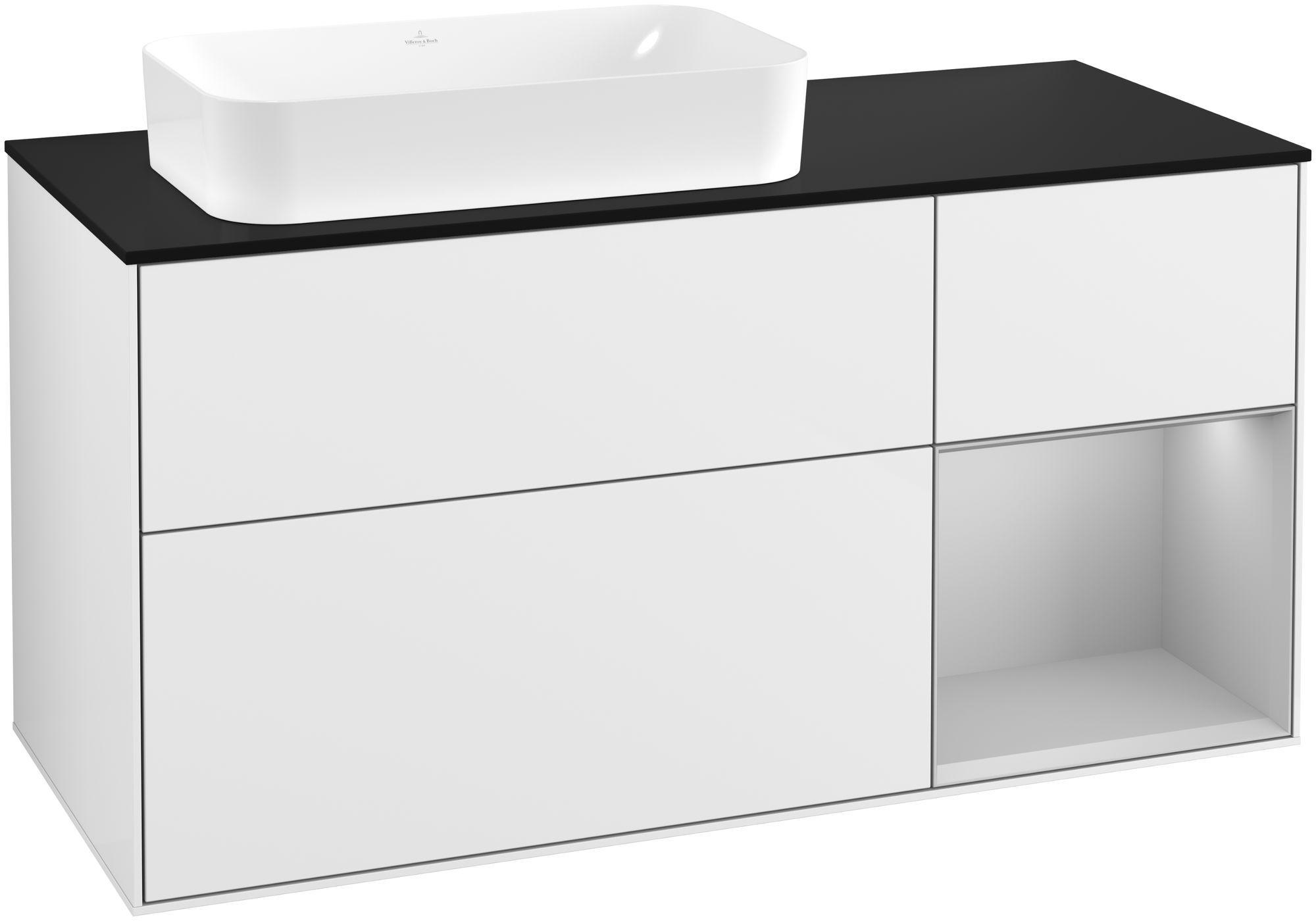Villeroy & Boch Finion F28 Waschtischunterschrank mit Regalelement 3 Auszüge Waschtisch links LED-Beleuchtung B:120xH:60,3xT:50,1cm Front, Korpus: Glossy White Lack, Regal: Light Grey Matt, Glasplatte: Black Matt F282GJGF