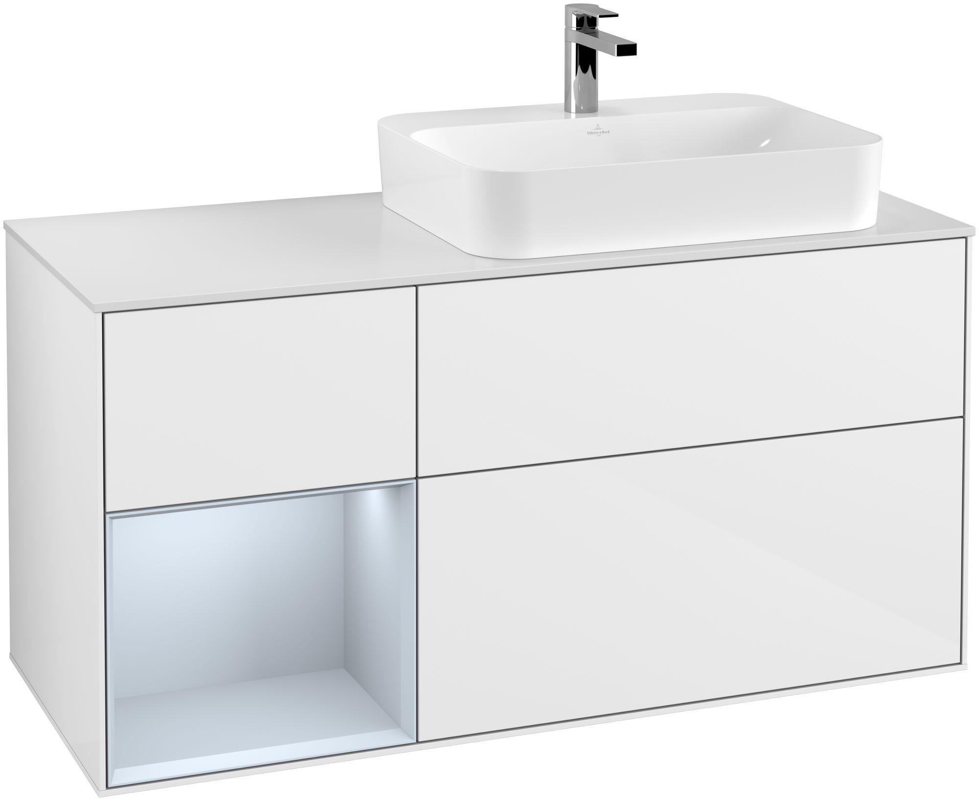 Villeroy & Boch Finion F39 Waschtischunterschrank mit Regalelement 3 Auszüge Waschtisch rechts LED-Beleuchtung B:120xH:60,3xT:50,1cm Front, Korpus: Glossy White Lack, Regal: Cloud, Glasplatte: White Matt F391HAGF