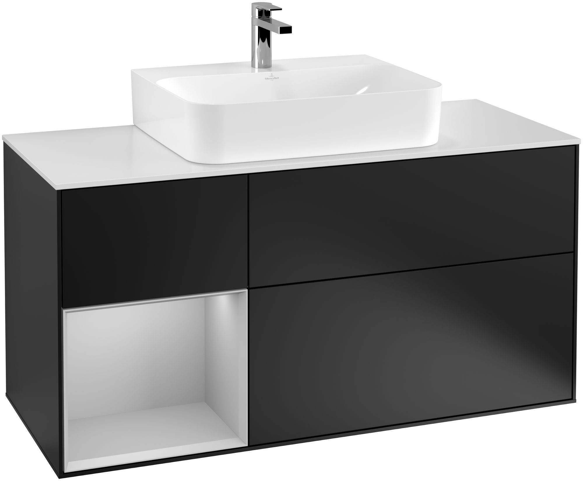 Villeroy & Boch Finion F16 Waschtischunterschrank mit Regalelement 3 Auszüge Waschtisch mittig LED-Beleuchtung B:120xH:60,3xT:50,1cm Front, Korpus: Black Matt Lacquer, Regal: Light Grey Matt, Glasplatte: White Matt F161GJPD
