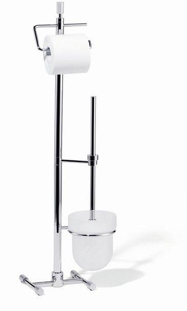 Giese Von der Rolle WC-Ständer mit Toilettenbürstengarnitur Kristallglas satiniert und chrom 15730-02