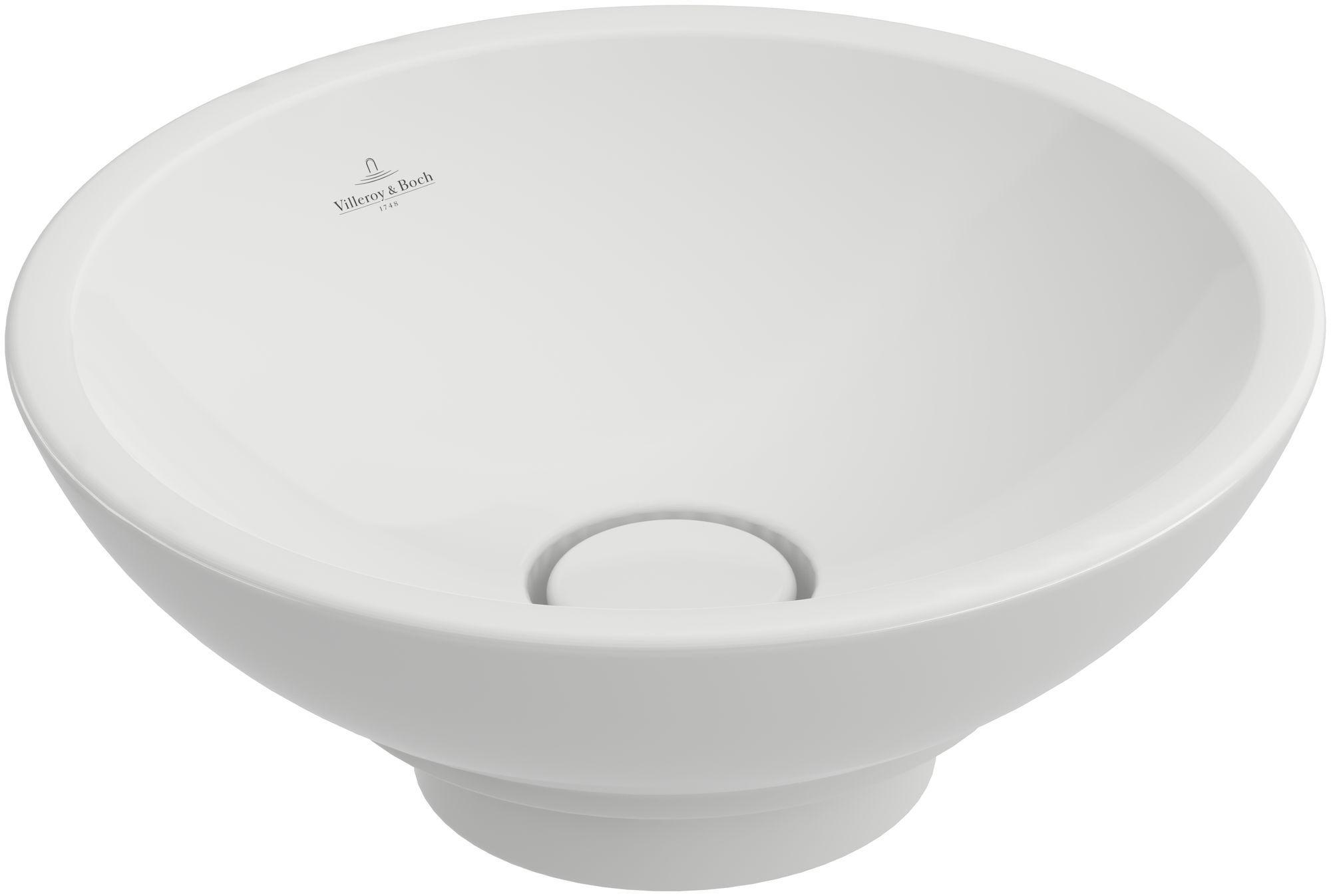 Villeroy & Boch Loop & Friends Aufsatzwaschtisch rund DM:38xH: 11cm ohne Hahnloch mit Überlauf weiß mit Ceramicplus 514800R1
