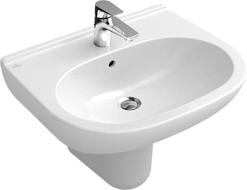 Villeroy & Boch O.novo Waschtisch B:55xT:45cm 1 Hahnloch ohne Überlauf weiß mit Ceramicplus 516056R1