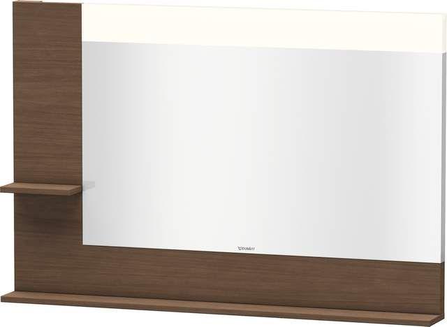 Duravit Vero Spiegel mit LED-Beleuchtung B:120xH:80xT:14,2cm mit Ablagen links und unten amerikanischer Nussbaum VE731301313