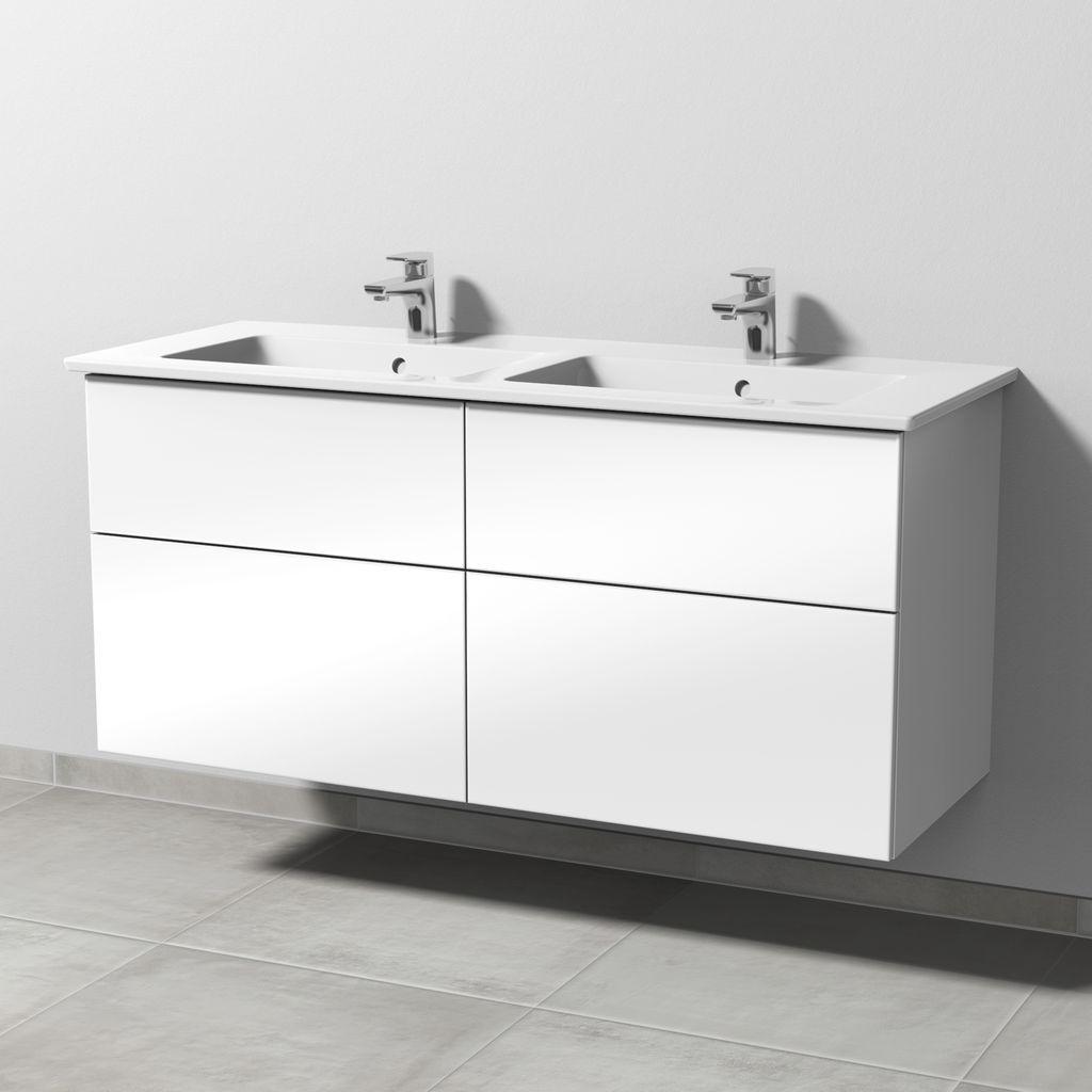 Sanipa 3way Set Keramik-Waschtisch (SM328) H:59,1xB:125,5xT:47,7cm Weiß-Soft SM32843
