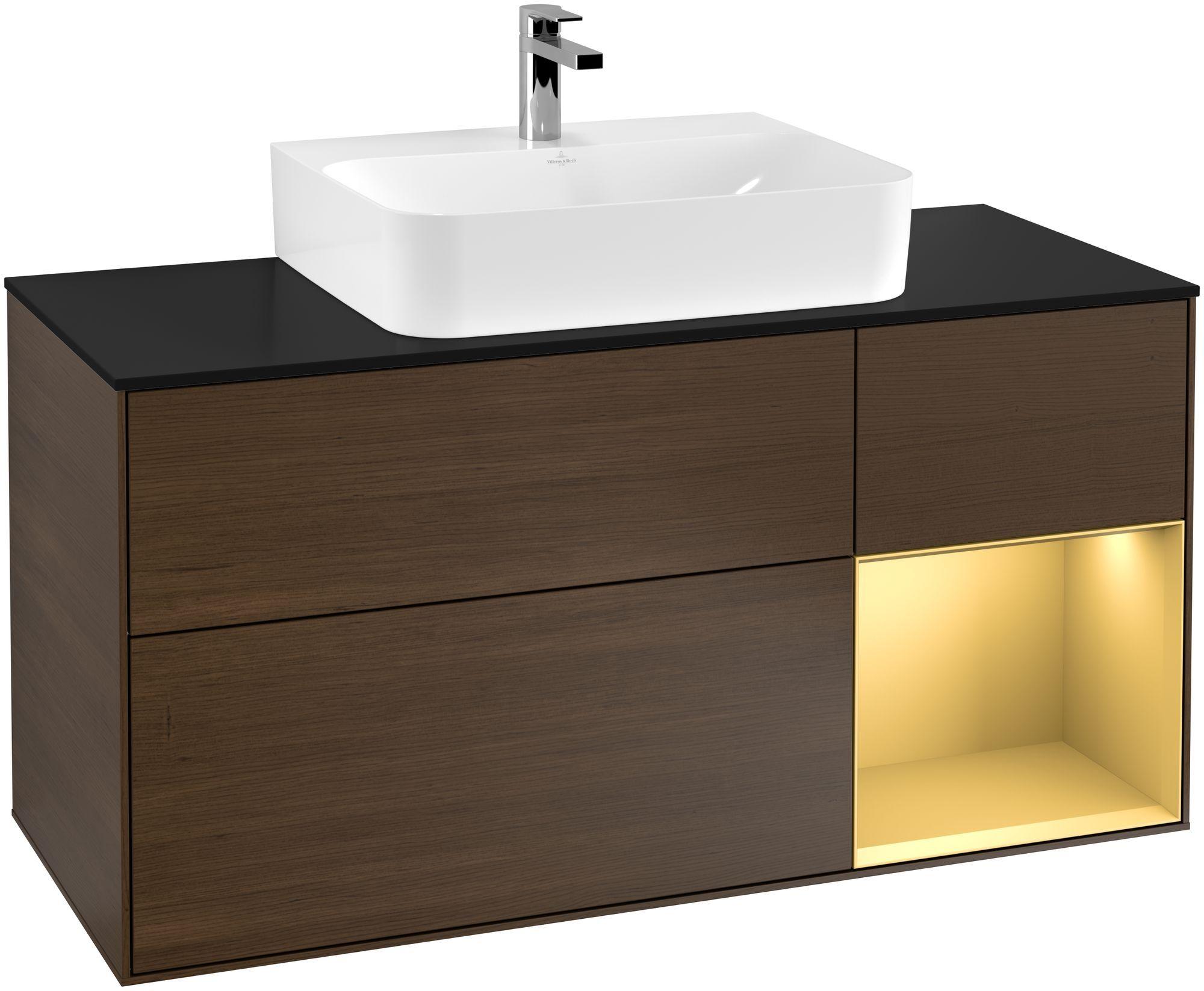 Villeroy & Boch Finion F17 Waschtischunterschrank mit Regalelement 3 Auszüge Waschtisch mittig LED-Beleuchtung B:120xH:60,3xT:50,1cm Front, Korpus: Walnut Veneer, Regal: Gold Matt, Glasplatte: Black Matt F172HFGN