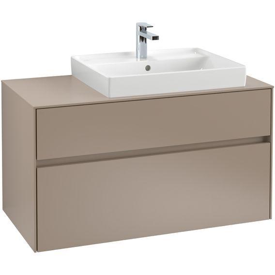 Villeroy & Boch Waschbeckenunterschrank Collaro C01800, 1000 x 548 x 500 mm, 2 Auszüge, Waschbecken rechts, Glossy Grey C01800FP