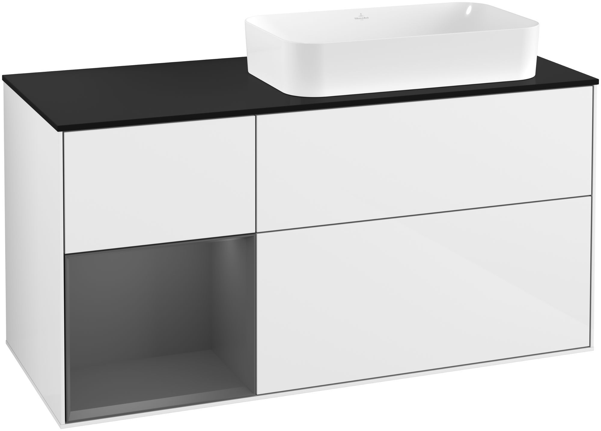 Villeroy & Boch Finion F27 Waschtischunterschrank mit Regalelement 3 Auszüge für WT rechts LED-Beleuchtung B:120xH:60,3xT:50,1cm Front, Korpus: Glossy White Lack, Regal: Anthracite Matt, Glasplatte: Black Matt F272GKGF