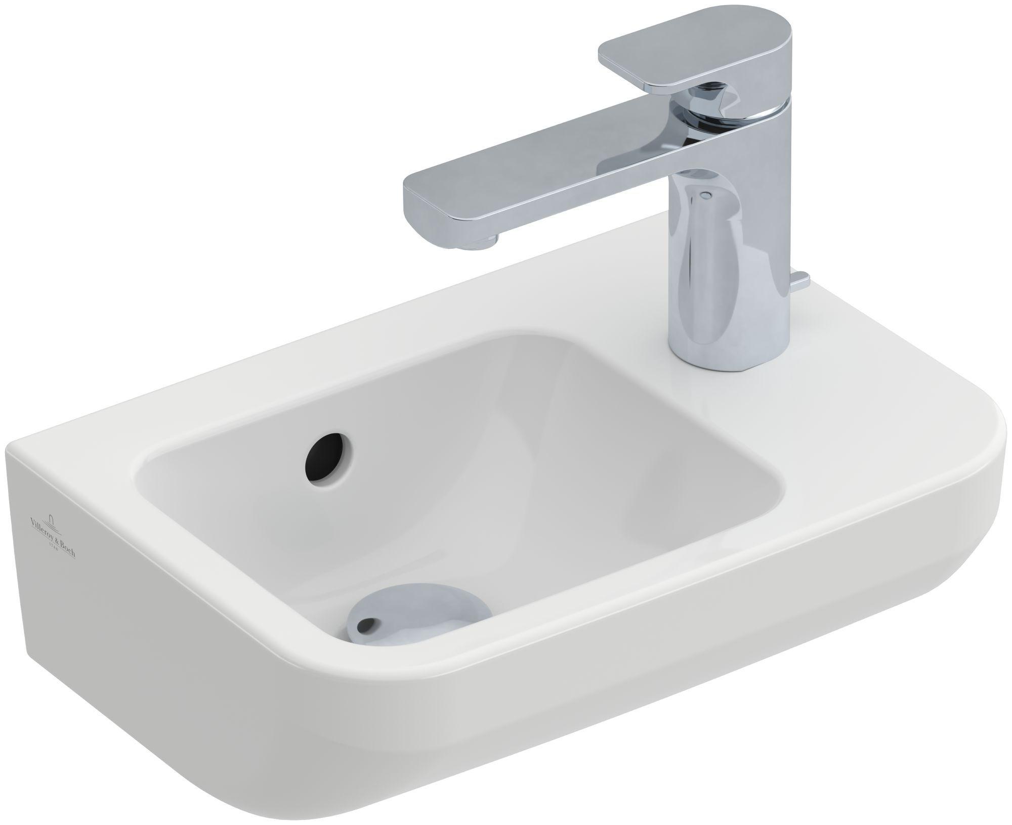 Villeroy & Boch Architectura Handwaschbecken B:36xT:26cm mit 1 Hahnloch rechts mit Überlauf weiß mit CeramicPlus 437336R1