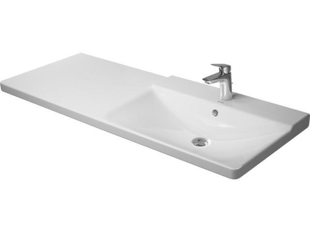 Duravit P3 Comforts Möbelwaschtisch B:125cm 1 Hahnloch mittig mit Überlauf Becken rechts weiß 2334120000