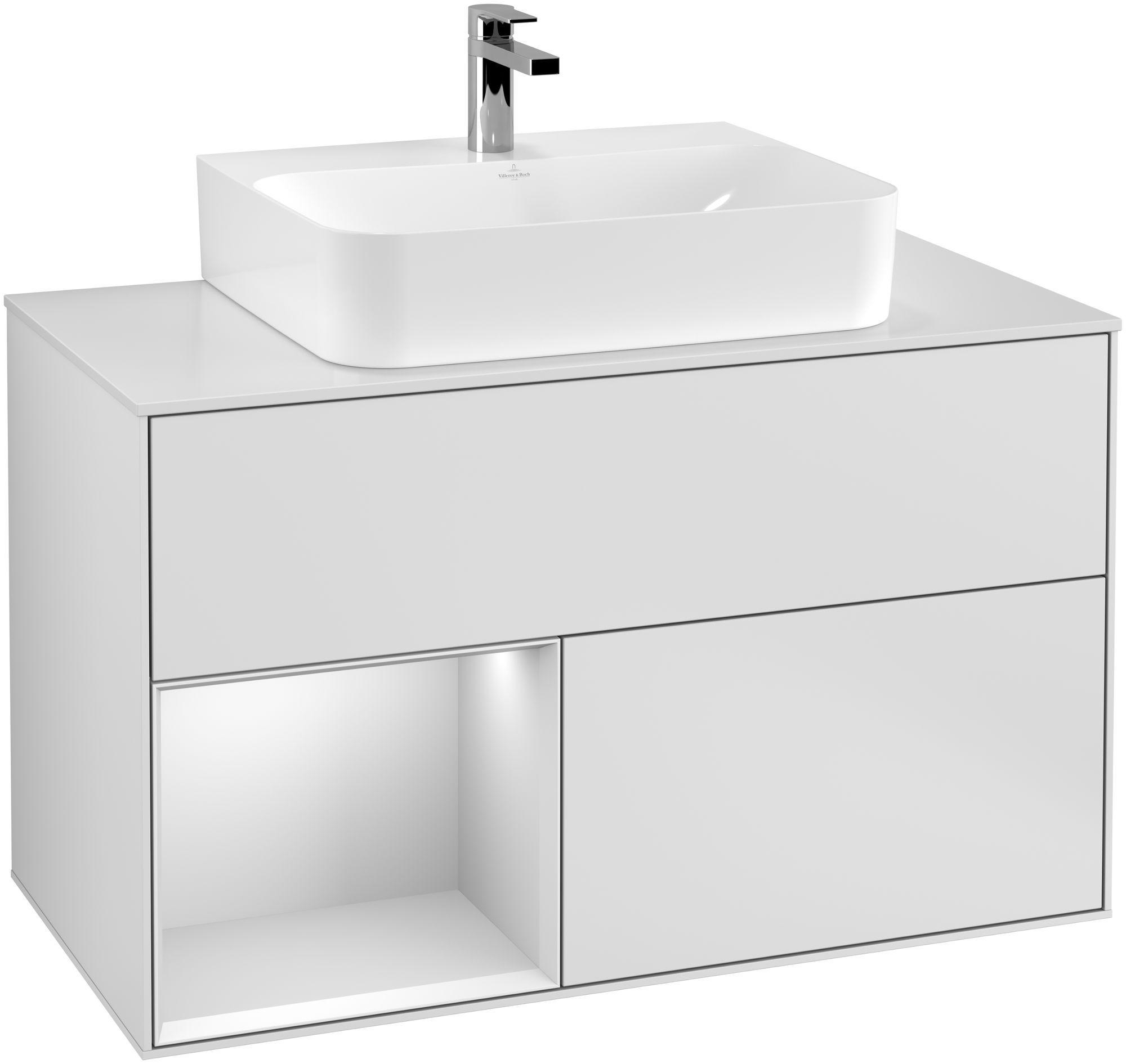 Villeroy & Boch Finion G11 Waschtischunterschrank mit Regalelement 2 Auszüge Waschtisch mittig LED-Beleuchtung B:100xH:60,3xT:50,1cm Front, Korpus: Weiß Matt Soft Grey, Glasplatte: White Matt G111MTMT