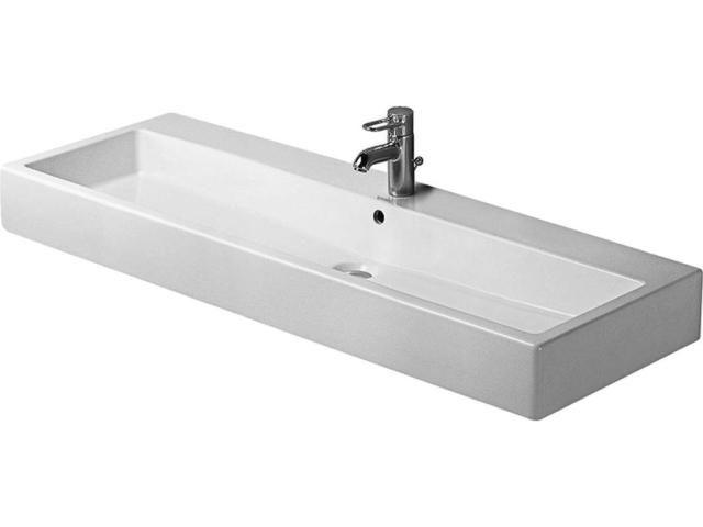 Duravit Vero Waschtisch B:120xT:47cm 1 Hahnloch mittig mit Überlauf geschliffen weiß 0454120027