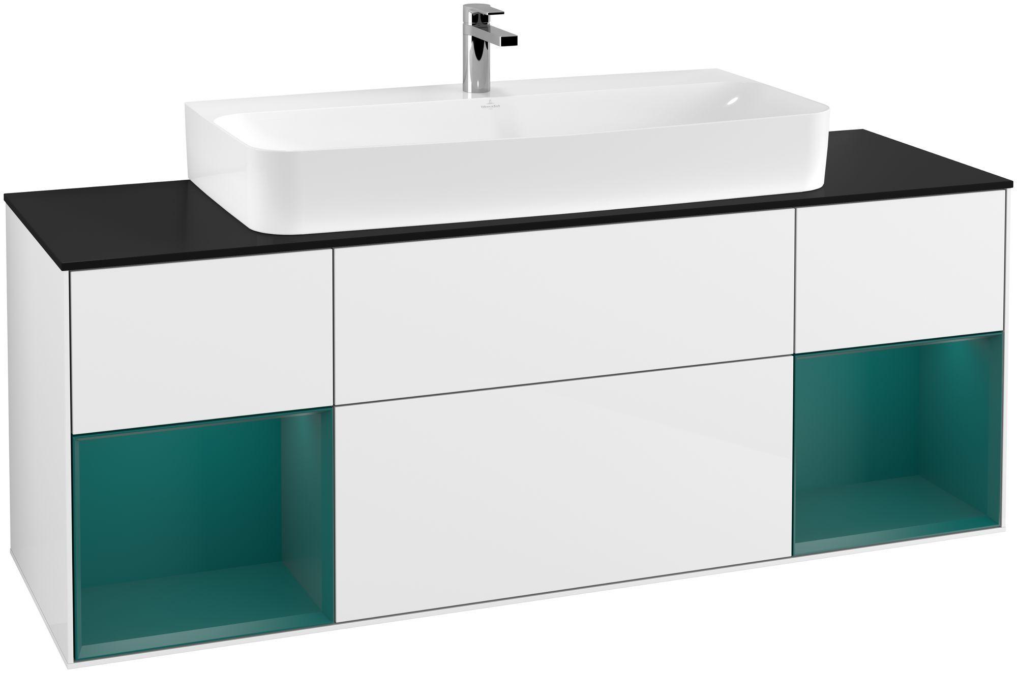 Villeroy & Boch Finion G21 Waschtischunterschrank mit Regalelement 4 Auszüge Waschtisch mittig LED-Beleuchtung B:160xH:60,3xT:50,1cm Front, Korpus: Glossy White Lack, Regal: Cedar, Glasplatte: Black Matt G212GSGF