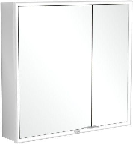 Villeroy & Boch My View Now Einbau-Spiegelschrank B:80xH:75xL:16,8 cm mit LED-Beleuchtung mit 2 Türen mit 2 Steckdosen innnen Smart Home fähig zur Montage vor der Wand Aluminium A4588000