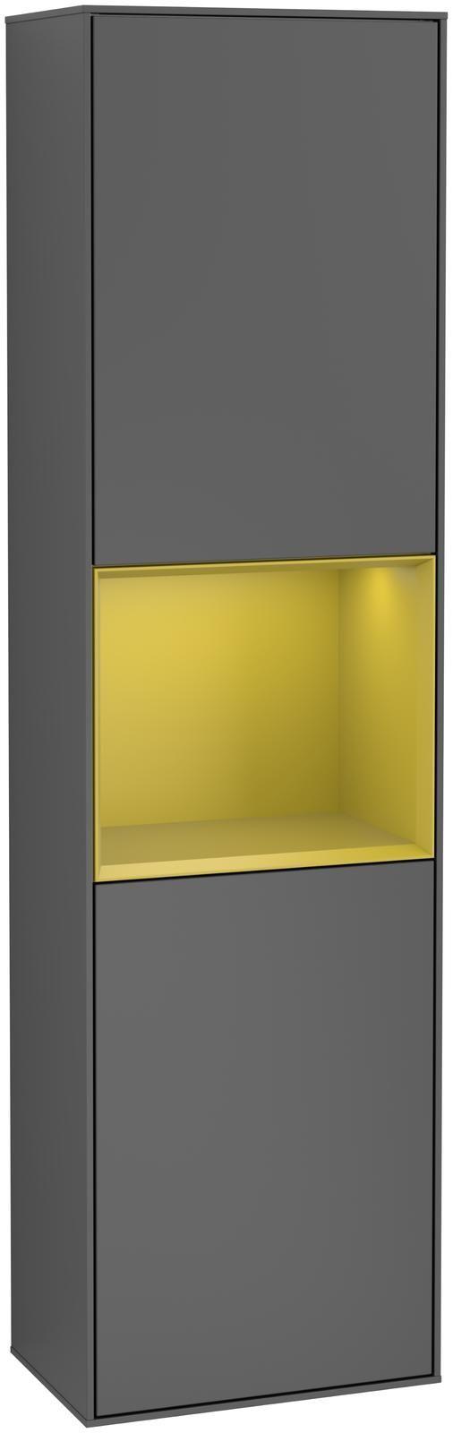 Villeroy & Boch Finion F46 Hochschrank mit Regalelement 2 Türen Anschlag links LED-Beleuchtung B:41,8xH:151,6xT:27cm Front, Korpus: Anthracite Matt, Regal: Sun F460HEGK