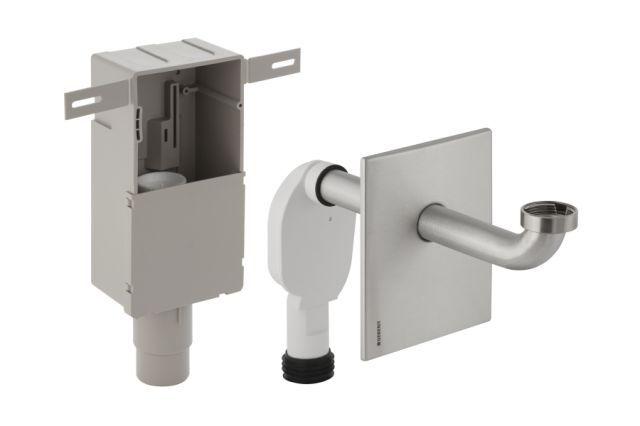 Geberit Unterputz-Geruchsverschluss für Waschbecken Abgang horizontal Edelstahl D50-56 151121001