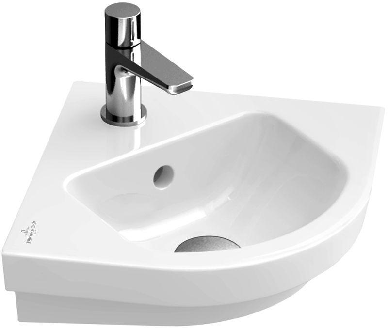 Villeroy & Boch Subway 2.0 Eck-Handwaschbecken B:32xT:32cm 1 Hahnloch mit Überlauf pergamon mit Ceramicplus 731945R3