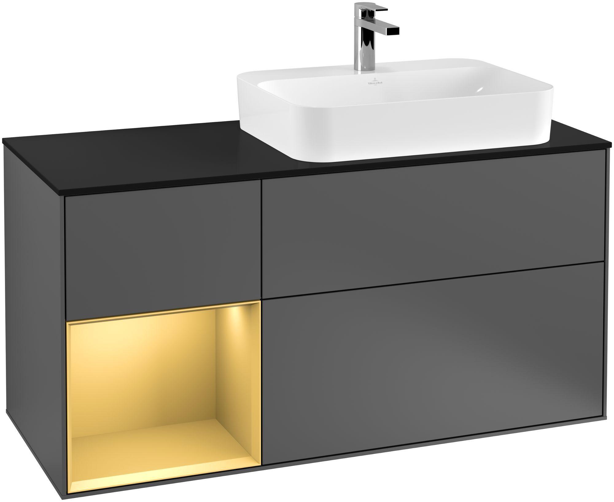 Villeroy & Boch Finion F39 Waschtischunterschrank mit Regalelement 3 Auszüge Waschtisch rechts LED-Beleuchtung B:120xH:60,3xT:50,1cm Front, Korpus: Anthracite Matt, Regal: Gold Matt, Glasplatte: Black Matt F392HFGK