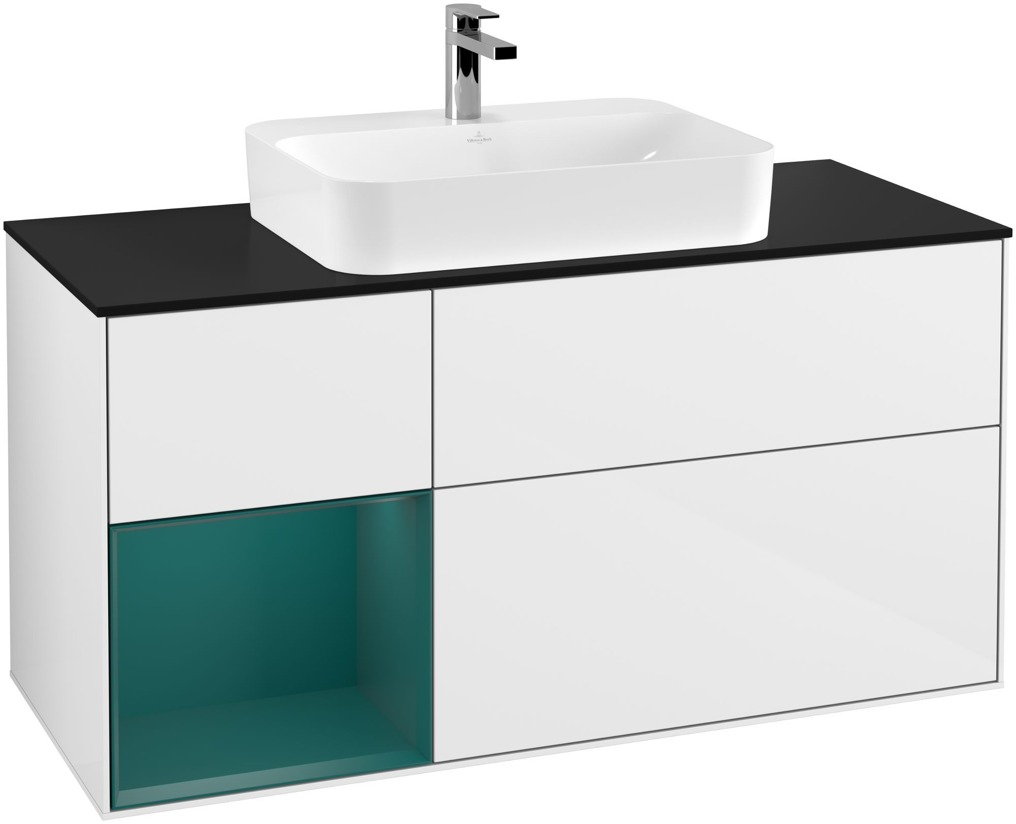 Villeroy & Boch Finion G41 Waschtischunterschrank mit Regalelement 3 Auszüge Waschtisch mittig LED-Beleuchtung B:120xH:60,3xT:50,1cm Front, Korpus: Glossy White Lack, Regal: Cedar, Glasplatte: Black Matt G412GSGF