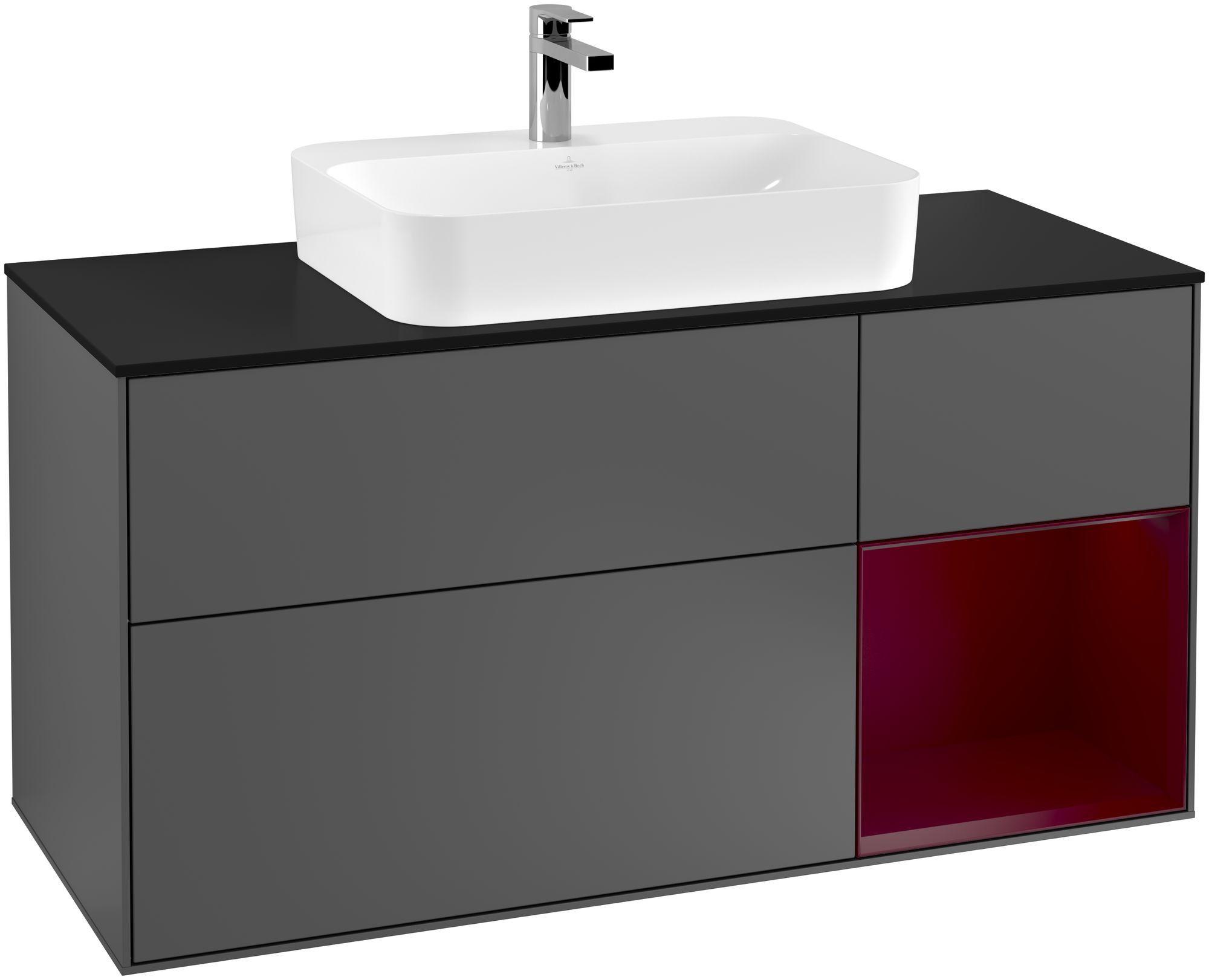 Villeroy & Boch Finion F42 Waschtischunterschrank mit Regalelement 3 Auszüge Waschtisch mittig LED-Beleuchtung B:120xH:60,3xT:50,1cm Front, Korpus: Anthracite Matt, Regal: Peony, Glasplatte: Black Matt F422HBGK