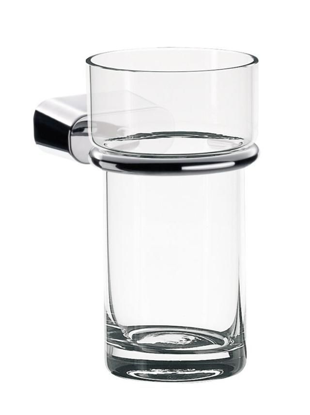 Emco logo 2 Glashalter 302000101, chrom, Glashalter mit Glas aus Kristallglas