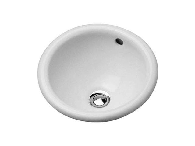 Duravit Architec Einbauwaschtisch rund DM:33,5cm ohne Hahnloch mit Überlauf unten glasiert weiß 0473340031
