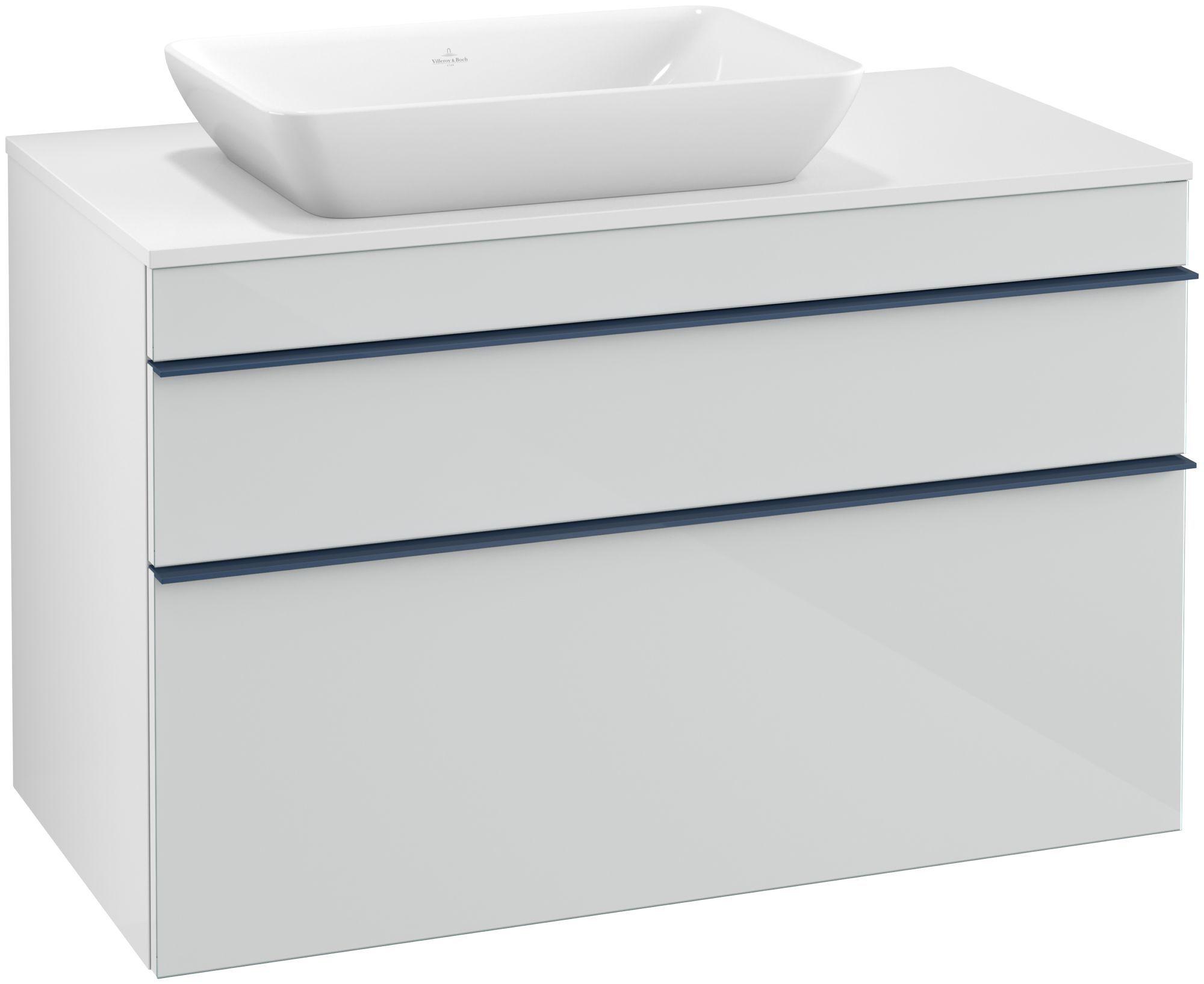 Villeroy & Boch Venticello Waschtischunterschrank für Waschtisch links 2 Auszüge B:95,7xH:60,6xT:50,2cm Glas glossy white Griffe blau Griffe blau A94204RE