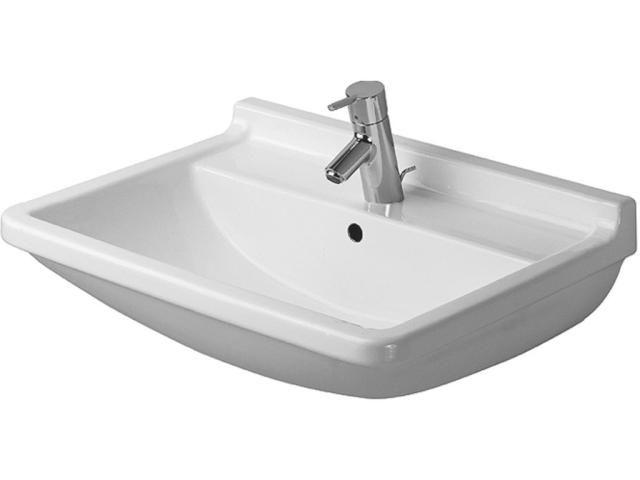 Duravit Starck 3 Waschtisch B:60xT:45cm 1 Hahnloch mittig mit Überlauf weiß 0300600000